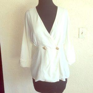 Zara trf gold Button front blouse cream white top